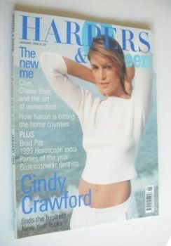 British Harpers & Queen magazine - January 1999 - Cindy Crawford cover