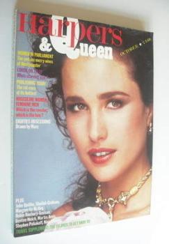 British Harpers & Queen magazine - October 1984 - Andie MacDowell cover