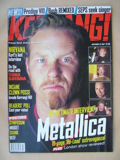 <!--1997-11-22-->Kerrang magazine - James Hetfield cover (22 November 1997