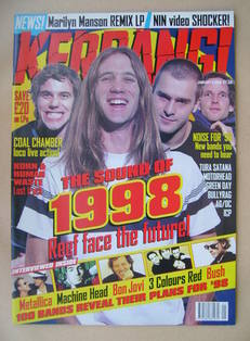 <!--1998-01-03-->Kerrang magazine - Reef cover (3 January 1998 - Issue 680)