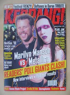 <!--1998-01-10-->Kerrang magazine - Marilyn Manson vs Metallica cover (10 J