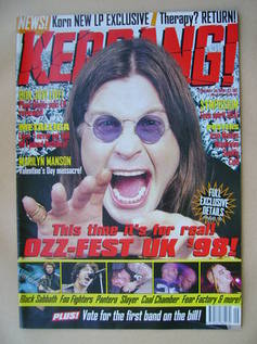 <!--1998-02-28-->Kerrang magazine - Ozzy Osbourne cover (28 February 1998 -