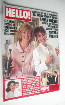 <!--1996-01-20-->Hello! magazine - Anthea Turner and Emma Forbes cover (20 January 1996 - Issue 390)