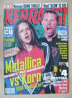 <!--1997-01-25-->Kerrang magazine - Jonathan Davis and James Hetfield cover
