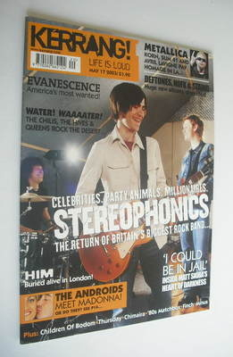 <!--2003-05-17-->Kerrang magazine - Stereophonics cover (17 May 2003 - Issu