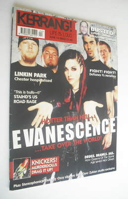 <!--2003-06-14-->Kerrang magazine - Evanescence cover (14 June 2003 - Issue