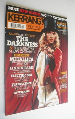 <!--2003-06-21-->Kerrang magazine - The Darkness cover (21 June 2003 - Issu
