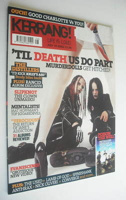 <!--2003-07-12-->Kerrang magazine - Murderdolls cover (12 July 2003 - Issue