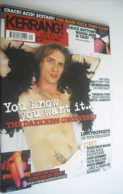 <!--2003-09-23-->Kerrang magazine - The Darkness cover (27 September 2003 -