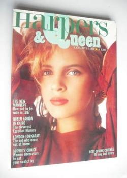 British Harpers & Queen magazine - January 1987 - Uma Thurman cover
