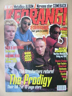 <!--1997-07-05-->Kerrang magazine - The Prodigy cover (5 July 1997 - Issue