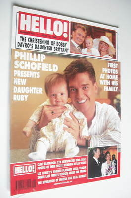 <!--1996-04-20-->Hello! magazine - Phillip Schofield and daughter Ruby cove