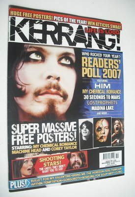 <!--2007-12-15-->Kerrang magazine - HIM Ville Valo cover (15 December 2007