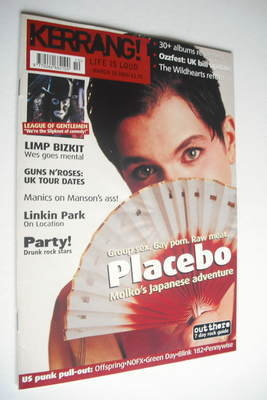 <!--2001-03-10-->Kerrang magazine - Placebo cover (10 March 2001 - Issue 84