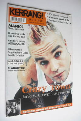 <!--2001-03-31-->Kerrang magazine - Crazy Town cover (31 March 2001 - Issue