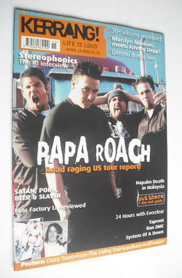 <!--2001-04-14-->Kerrang magazine - Papa Roach cover (14 April 2001 - Issue