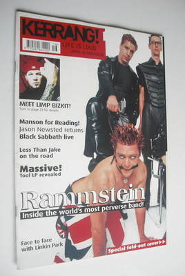 <!--2001-04-21-->Kerrang magazine - Rammstein cover (21 April 2001 - Issue