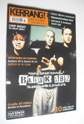 <!--2001-06-09-->Kerrang magazine - Blink 182 cover (9 June 2001 - Issue 85