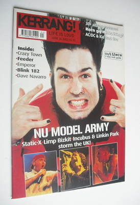 <!--2001-06-16-->Kerrang magazine - Static-X cover (16 June 2001 - Issue 85