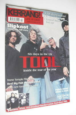 <!--2001-06-23-->Kerrang magazine - Tool cover (23 June 2001 - Issue 858)