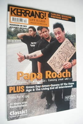 <!--2001-08-25-->Kerrang magazine - Papa Roach cover (25 August 2001 - Issu