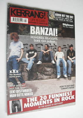 <!--2002-09-21-->Kerrang magazine - Hundred Reasons cover (21 September 200
