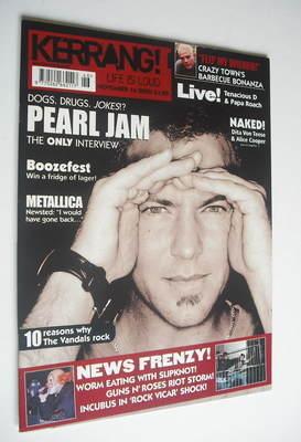 <!--2002-11-16-->Kerrang magazine - Pearl Jam cover (16 November 2002 - Iss