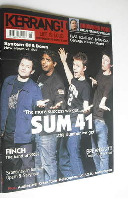 <!--2002-11-30-->Kerrang magazine - Sum 41 cover (30 November 2002 - Issue