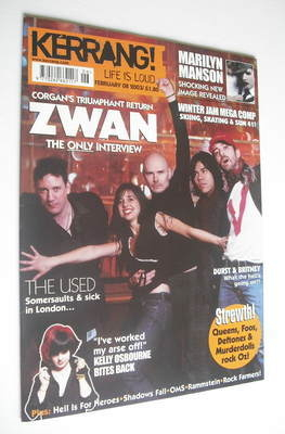 <!--2003-02-08-->Kerrang magazine - Zwan cover (8 February 2003 - Issue 941