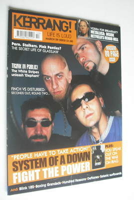 <!--2003-03-29-->Kerrang magazine - System Of A Down cover (29 March 2003 -