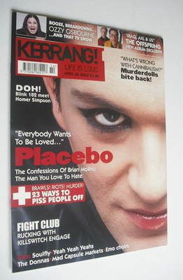 <!--2003-04-05-->Kerrang magazine - Placebo cover (5 April 2003 - Issue 949