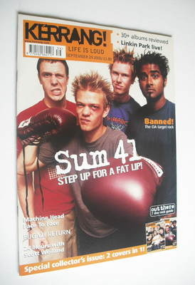 <!--2001-09-29-->Kerrang magazine - Sum 41 / New Found Glory cover (29 Sept