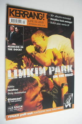 <!--2001-10-06-->Kerrang magazine - Linkin Park cover (6 October 2001 - Iss