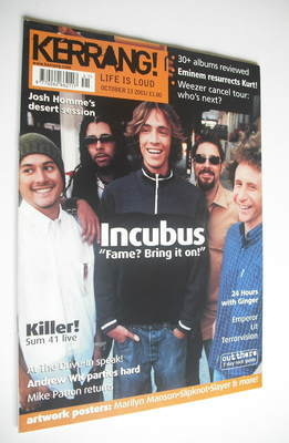 <!--2001-10-13-->Kerrang magazine - Incubus cover (13 October 2001 - Issue