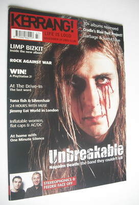 <!--2001-11-24-->Kerrang magazine - Napalm Death cover (24 November 2001 -