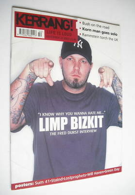 <!--2001-12-15-->Kerrang magazine - Fred Durst cover (15 December 2001 - Is