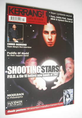 <!--2002-01-12-->Kerrang magazine - P.O.D. cover (12 January 2002 - Issue 8
