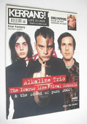 <!--2002-03-16-->Kerrang magazine - Alkaline Trio cover (16 March 2002 - Is