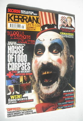 <!--2003-10-11-->Kerrang magazine - House Of 1000 Corpses cover (11 October