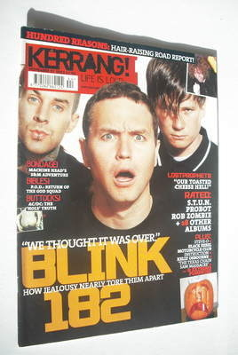 <!--2003-11-01-->Kerrang magazine - Blink 182 cover (1 November 2003 - Issu