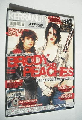 <!--2004-02-21-->Kerrang magazine - Brody Dalle & Peaches cover (21 Februar