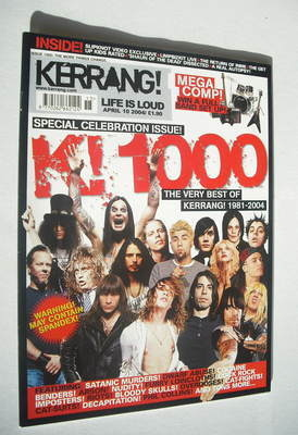 <!--2004-04-10-->Kerrang magazine - 1000th Issue cover (10 April 2004 - Iss