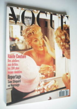 French Paris Vogue magazine - March 1991 - Linda Evangelista cover
