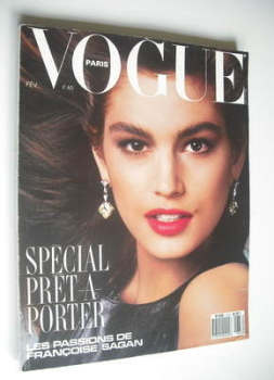 French Paris Vogue magazine - February 1987 - Cindy Crawford cover