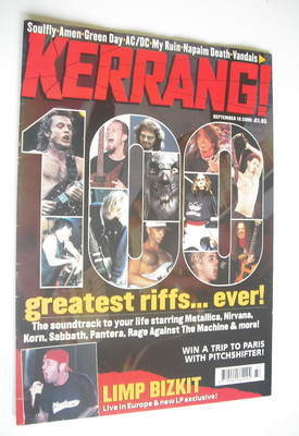 <!--2000-09-16-->Kerrang magazine - 100 Greatest Riffs Ever cover (16 Septe
