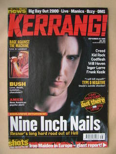 <!--1999-09-25-->Kerrang magazine - Trent Reznor cover (25 September 1999 -