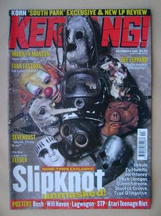 <!--1999-11-06-->Kerrang magazine - Slipknot cover (6 November 1999 - Issue