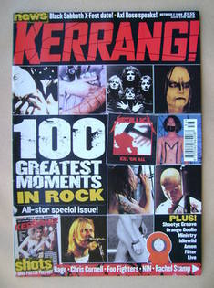<!--1999-10-02-->Kerrang magazine - 100 Greatest Moments In Rock cover (2 O