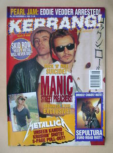 <!--1993-12-04-->Kerrang magazine - Manic Street Preachers cover (4 Decembe
