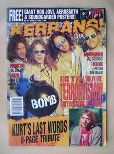 <!--1994-04-23-->Kerrang magazine - Terrorvision cover (23 April 1994 - Iss